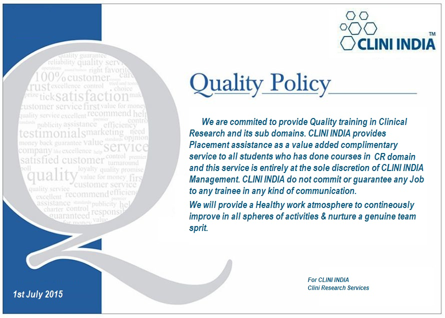 Qualit Policy- CLINI INDIA